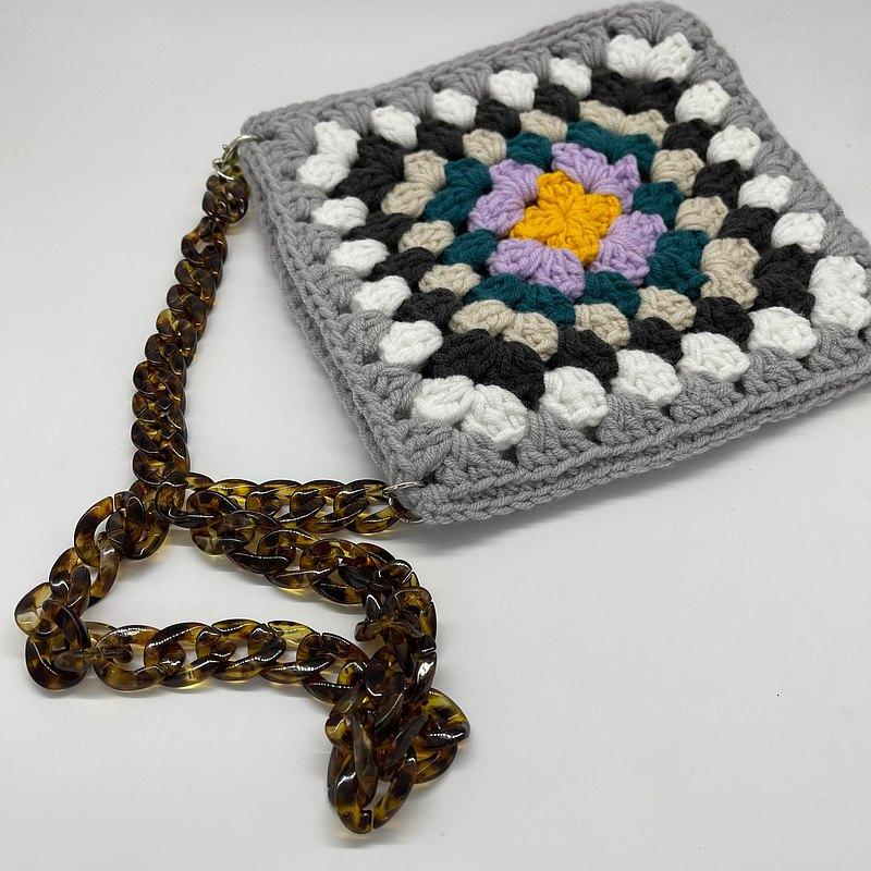 手工重工鉤針編織花片包 祖母花片鏈條包 新年禮物 聖誕禮物 情人節禮物
