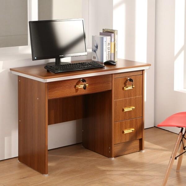 概念家居 原創四抽實用書桌 1米單人 電腦桌 工作桌 學生桌椅 淺胡桃色 辦公桌 ls-201