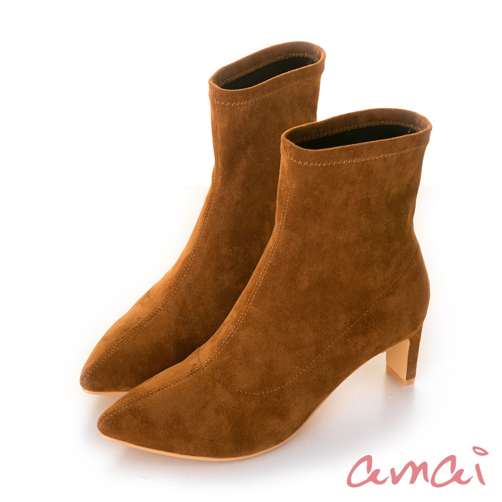 amai 摩登尖頭防潑水絨布襪靴 橘棕 GB509CF