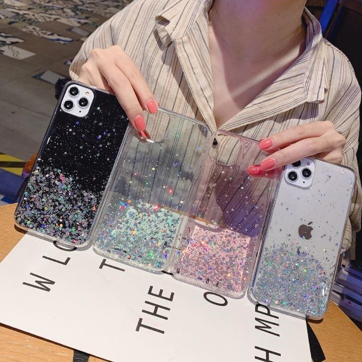 星空流沙手機殼送鋼化膜+iphone12手機殼星空流沙iphone 12pro 閃光亮片保護殼