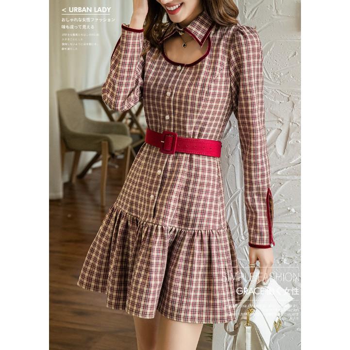 韓國 復古風 胸前縷空長袖格紋洋裝 連身短裙 連身短洋裝 附腰帶 格子裙 襯衫領洋裝 有內裡