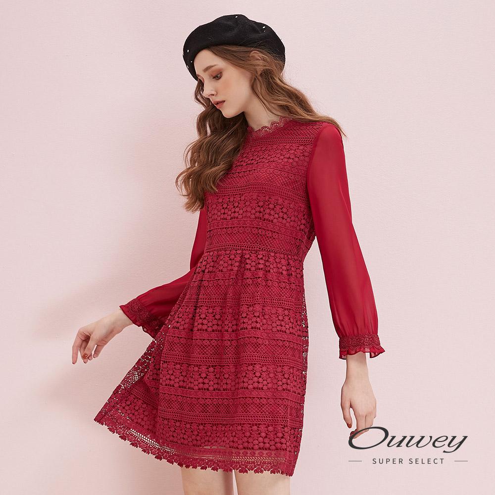 OUWEY歐薇 雪紡拼接水溶蕾絲小立領洋裝(紅)H51725