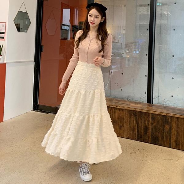 長裙.日系甜美蕾絲毛海蛋糕飄逸高腰長裙.白鳥麗子
