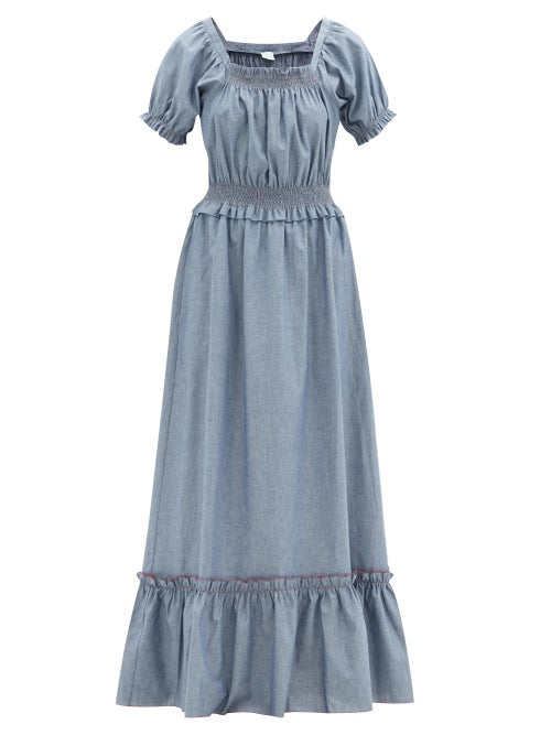Loretta Caponi - Stefania Shirred Cotton-chambray Maxi Dress - Womens - Blue
