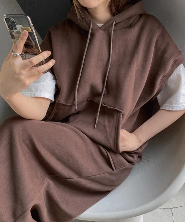 韓國空運 - A-Dew Woolen Vest Hooded Sweatshirt 長袖上衣