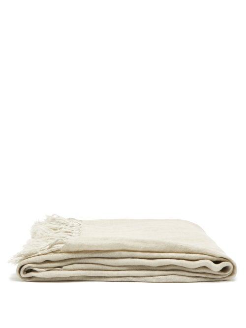 Brunello Cucinelli - Fringed Linen Blanket - Light Grey