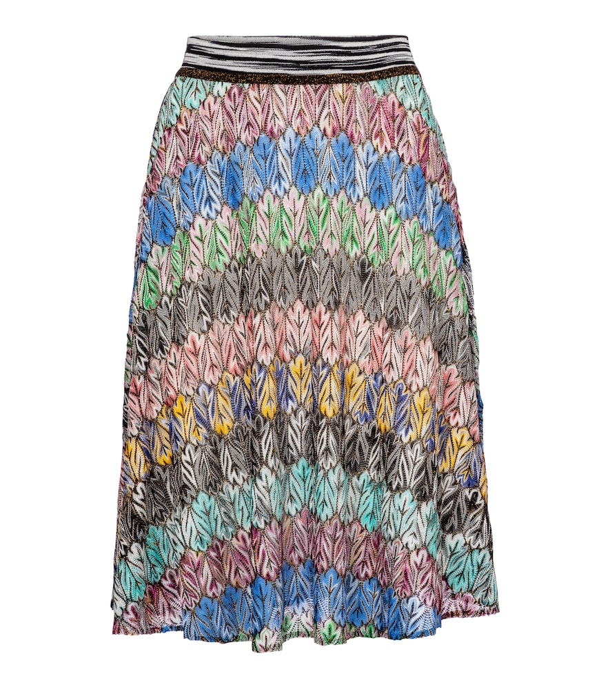 Zigzag high-rise knit midi skirt