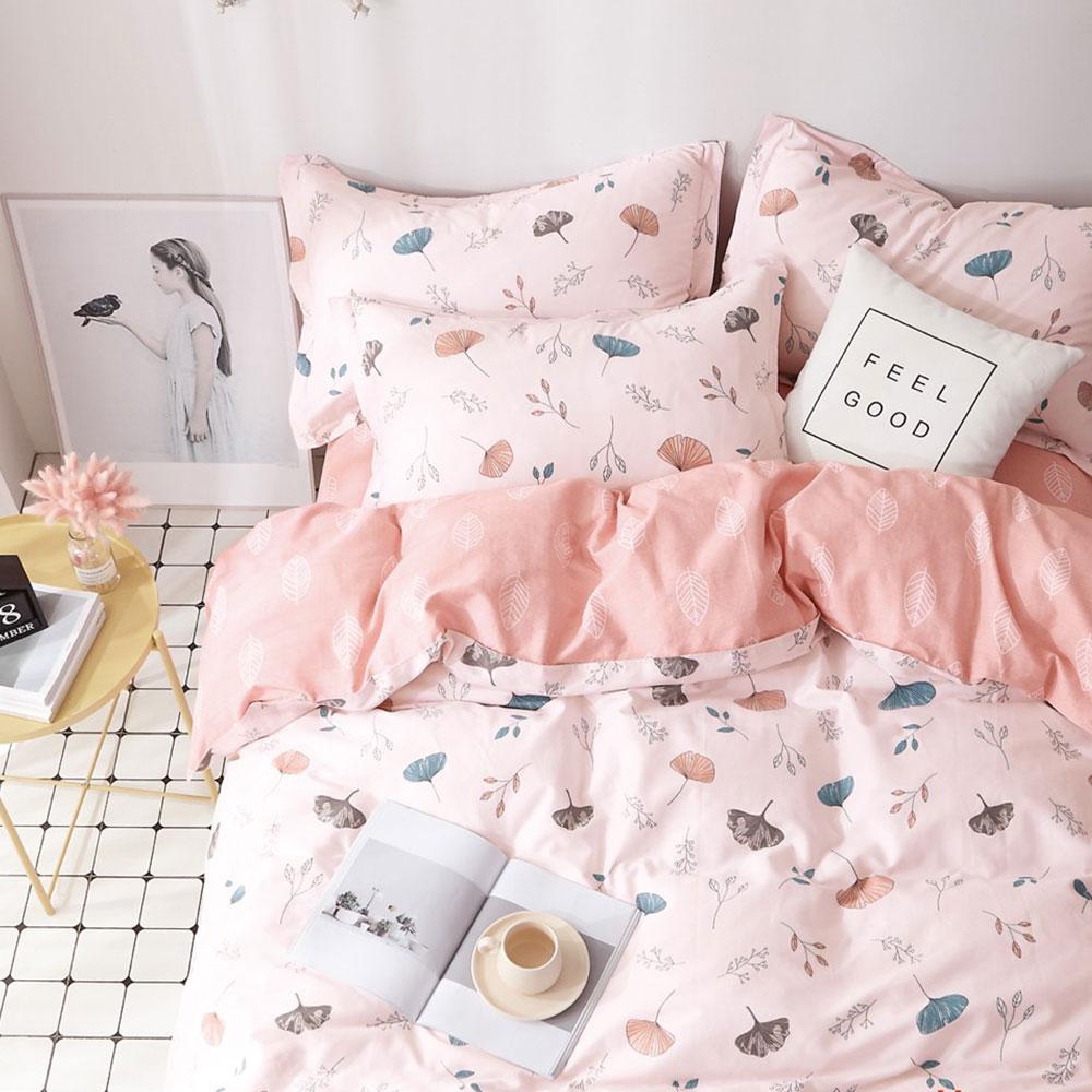 床包被套組(薄被套)-單人 / 精梳純棉三件式 / 繽紛杏葉 台灣製