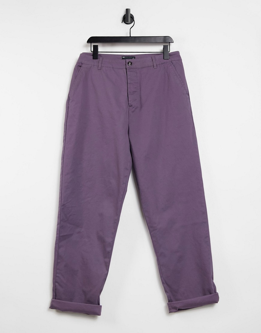 ASOS DESIGN relaxed skater chinos in mauve-Purple