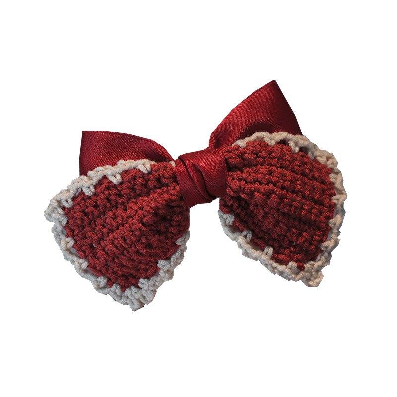 氣質優雅秋冬毛線兒童大蝴蝶結發夾 紅色 女孩公主後腦勺髮卡韓國頭飾