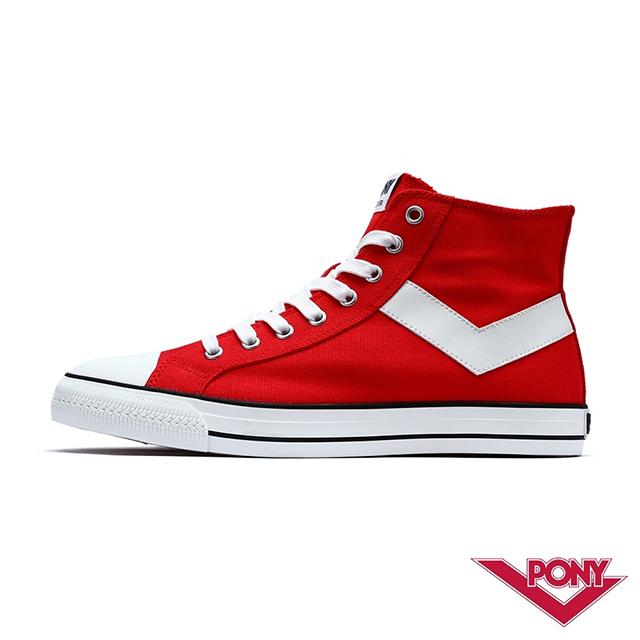 【PONY】Shooter系列高統經典復古帆布鞋 休閒鞋 女鞋 紅色
