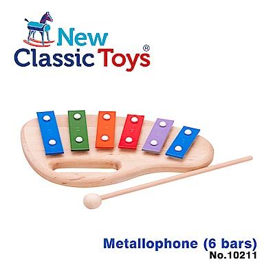 【荷蘭New Classic Toys】幼兒6音彩虹敲敲鐵琴 - 10211