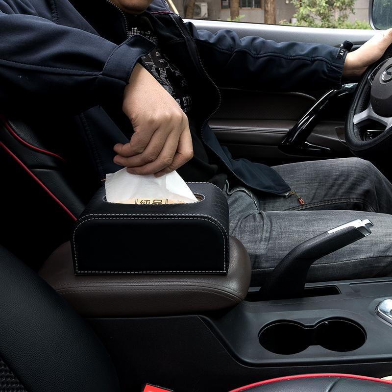 車載面紙盒 車載紙巾盒大容量車用扶手箱綁帶汽車內飾品座式創意餐巾抽紙盒套【MJ7319】