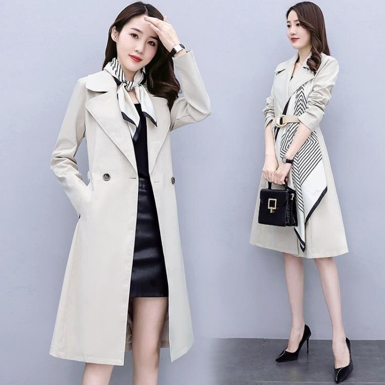 風衣 風衣大衣女秋裝2020新款中長款高端大氣垂感抗皺氣質綁帶拼接外套