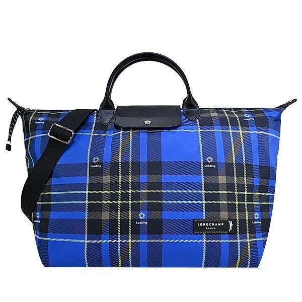 LONGCHAMP GREEN DISTRICT系列格紋短把兩用旅行袋(大/藍)