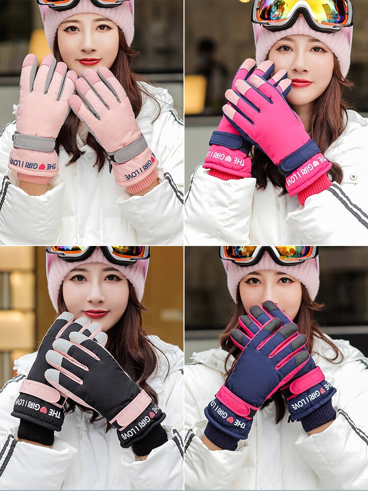 滑雪手套秋冬季女士騎行保暖防風加厚防寒電動車男士冬天防水
