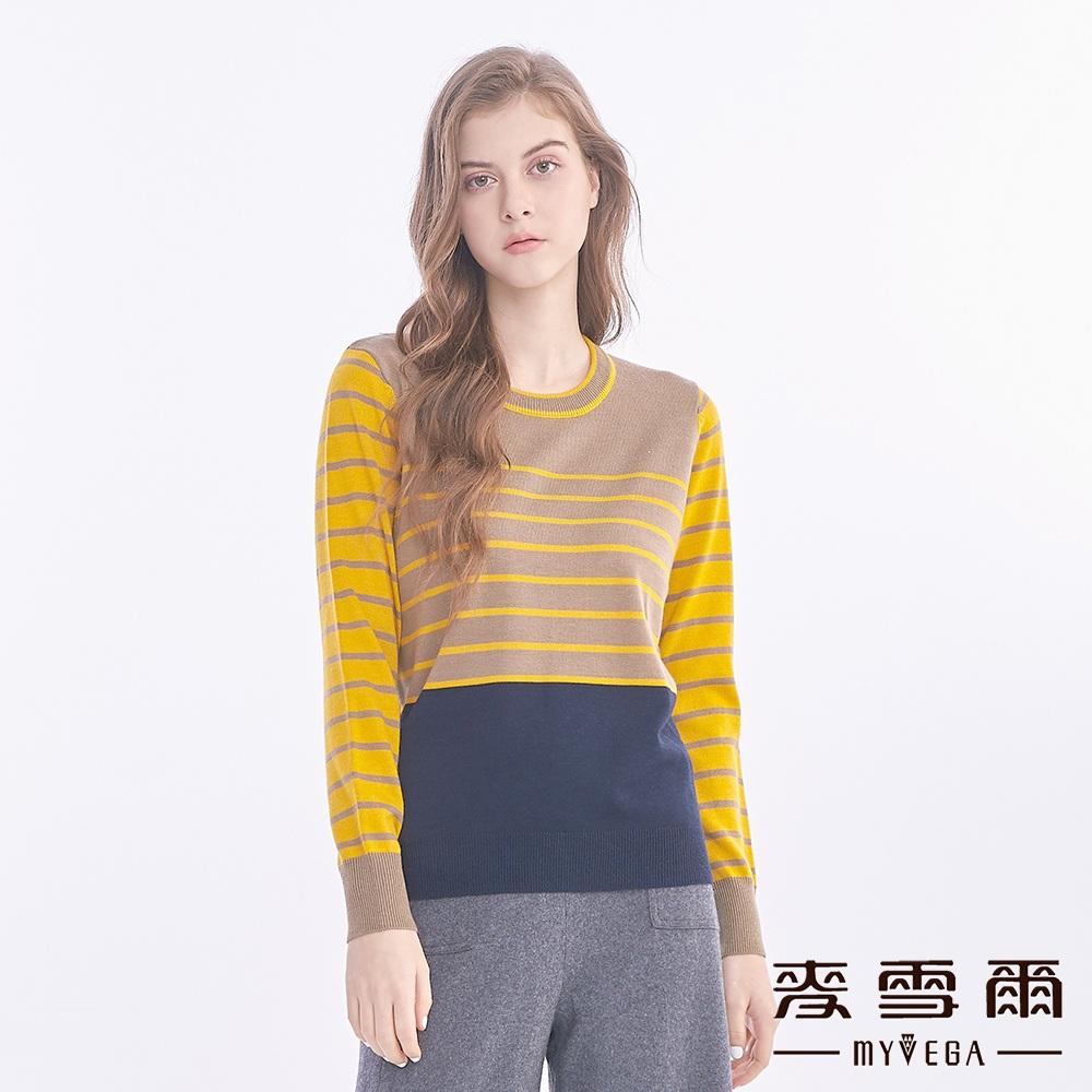 【麥雪爾】羊毛撞色條紋針織衫-黃