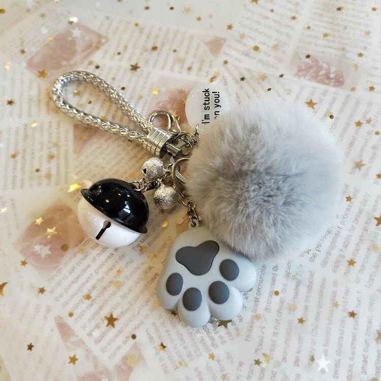 發光鑰匙扣女可愛貓爪鑰匙掛件扣車鑰匙圈兔毛球包包掛件 創時代 新年春節 送禮