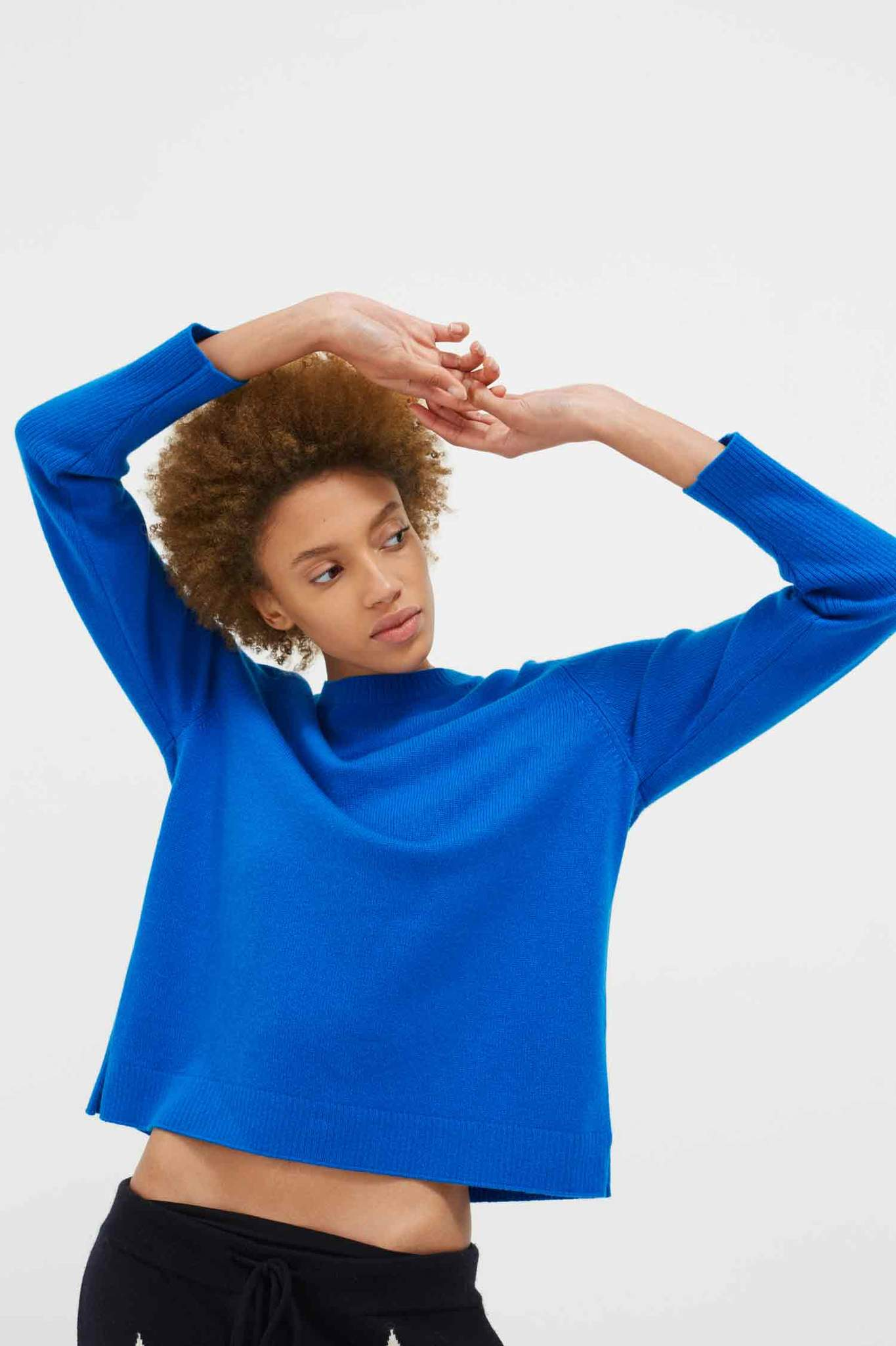 Royal-Blue Cashmere Boxy Sweater