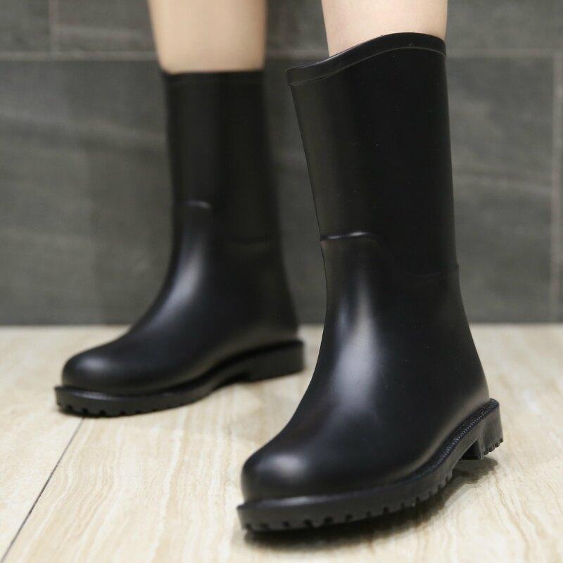 保暖雨鞋 雨鞋女士水鞋時尚中筒雨靴可愛套鞋成人刷毛防滑女士膠鞋保暖鞋套【xy6429】