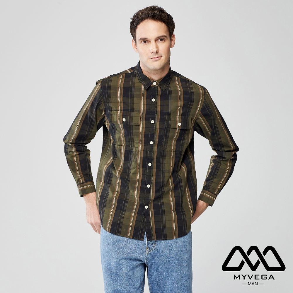 【麥雪爾】MAN復古格紋口袋長襯衫-綠
