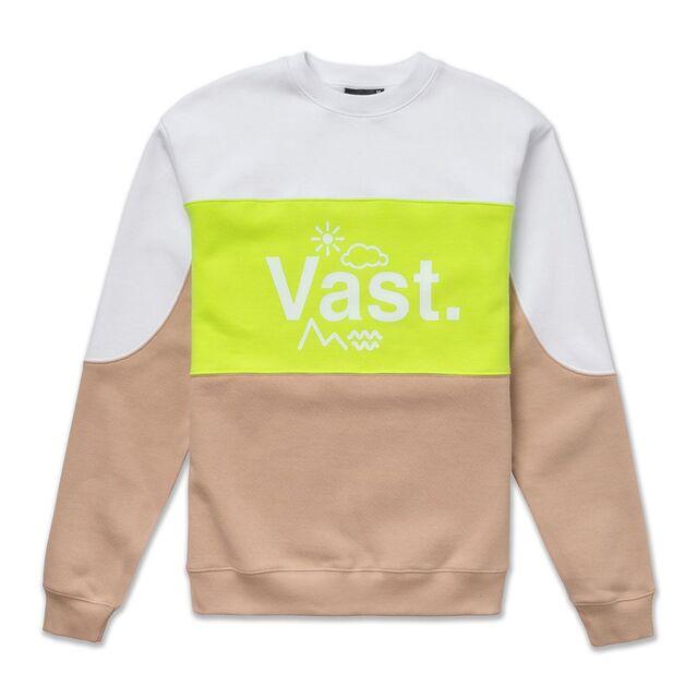 美國加州Vast拼接撞色圓領長袖上衣 - 黃色