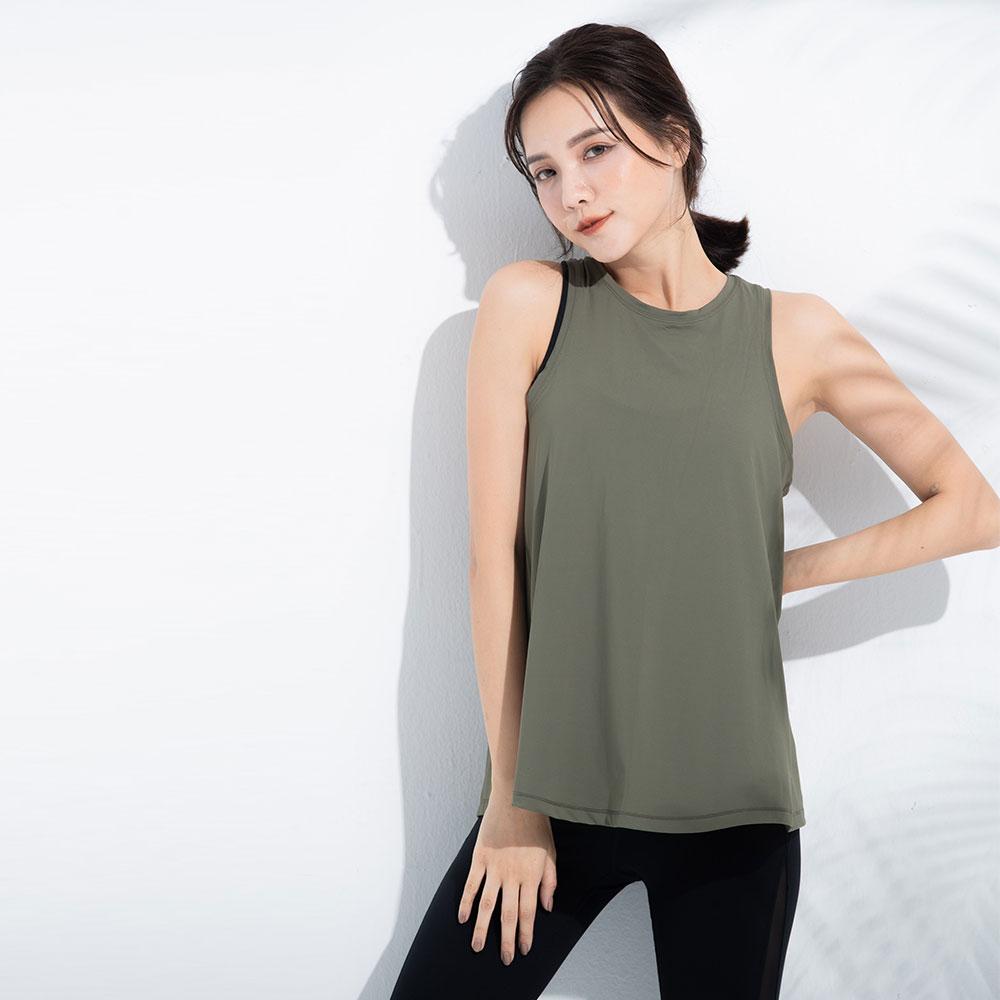 露背綁口運動背心-Green