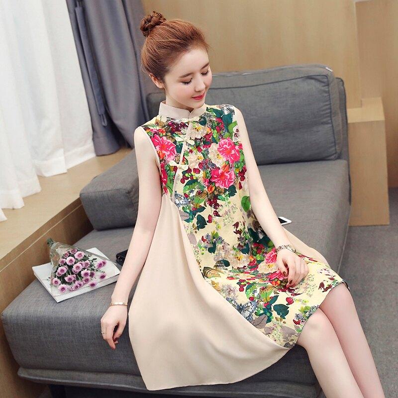 大尺碼洋裝 民族風旗袍 中國風棉麻拼接雪紡連身裙