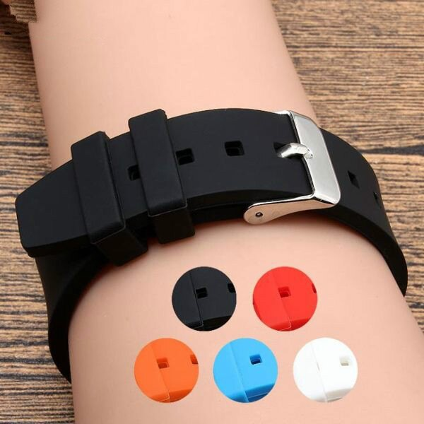 錶帶 硅膠橡膠手錶帶黑色適配 18 20 22mm男女