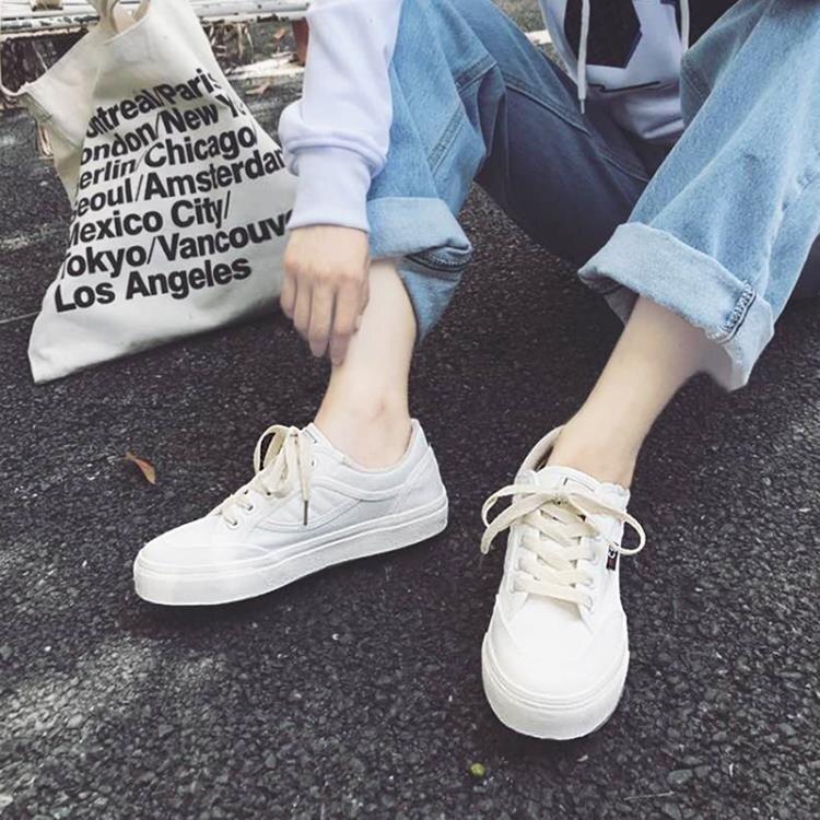 帆布鞋鞋子小白鞋帆布鞋女學生正韓百搭平底原宿港風板鞋創時代3C 交換禮物 送禮