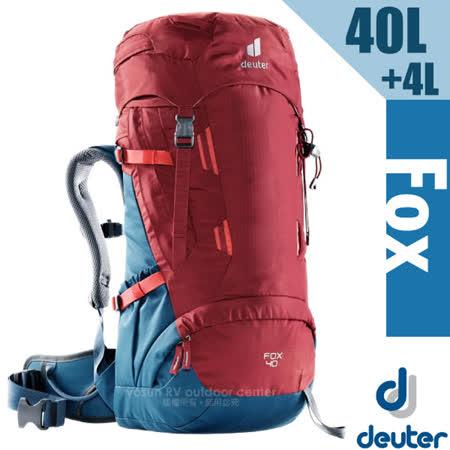 【德國 Deuter】Fox 40+4L 專業輕量拔熱透氣背包(大容量設計+Vari Quick速調肩帶系統)_3611221 紅/藍
