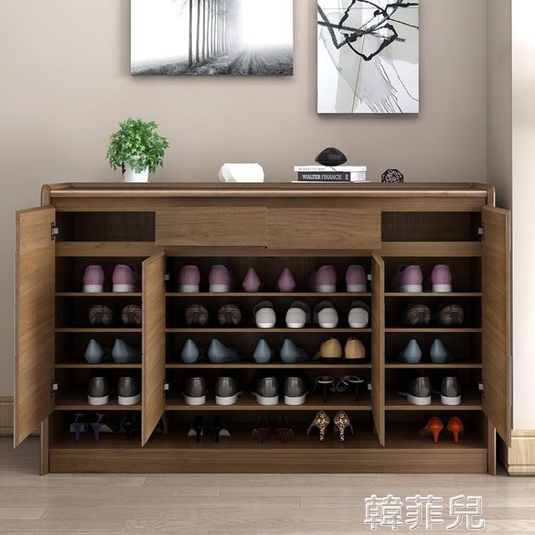 鞋櫃 中式實木鞋櫃北歐陽台儲物櫃隔斷櫃門口門廳櫃收納大容量玄關鞋櫃 MKS