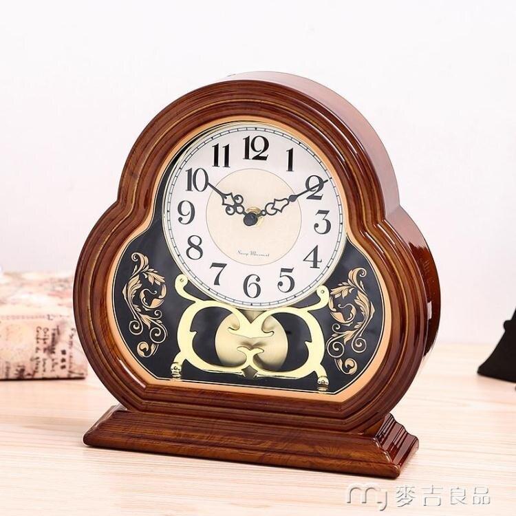台鐘台鐘歐式復古座鐘創意桌面擺飾客廳大號鐘表靜音台式擺鐘美式時鐘