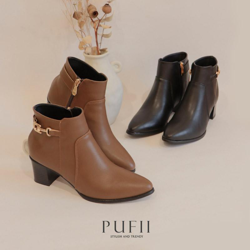 冬裝49折◆PUFII-鞋子 MIT側邊金屬釦質感皮質粗跟短靴子-1111現+預 冬【CP19504】