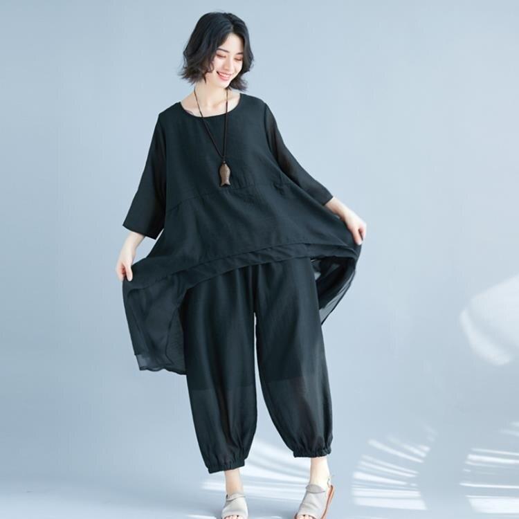 加大碼女裝 胖mm香云紗套裝 兩件套 寬鬆顯瘦 薄感透氣上衣 褲子