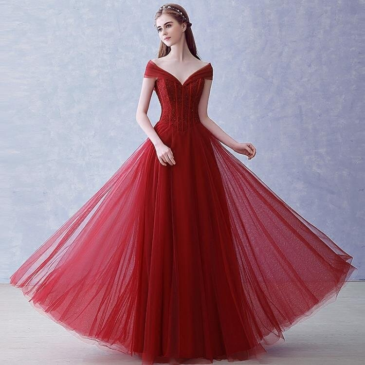 婚紗禮服 2020新款韓式長款婚紗禮服修身紅色一字肩晚宴晚禮服新娘敬酒服夏