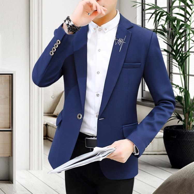 西裝   西服男上衣純色男式外套休閒小西服韓版長袖西裝