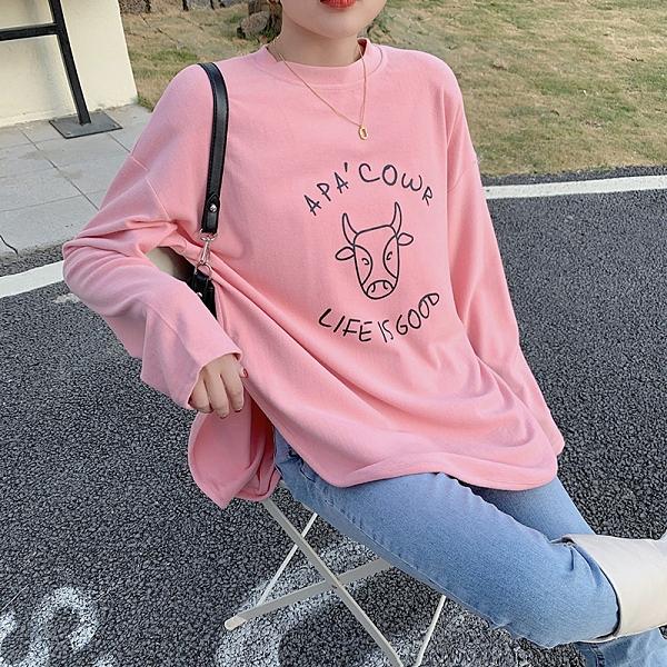 韓版長袖t恤女牛年下擺圓弧設計感簡約百搭上衣潮20300 S1F-07 韓依紡