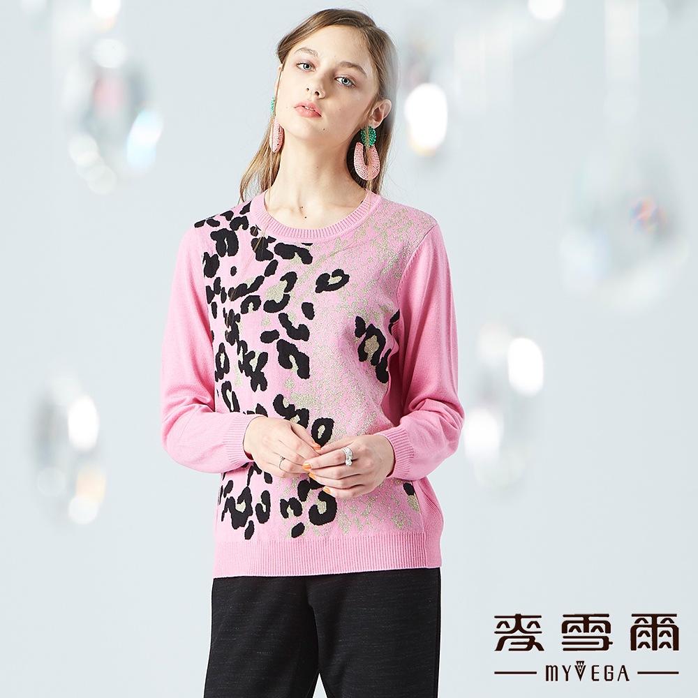 【麥雪爾】羊毛金蔥豹紋長袖針織衫