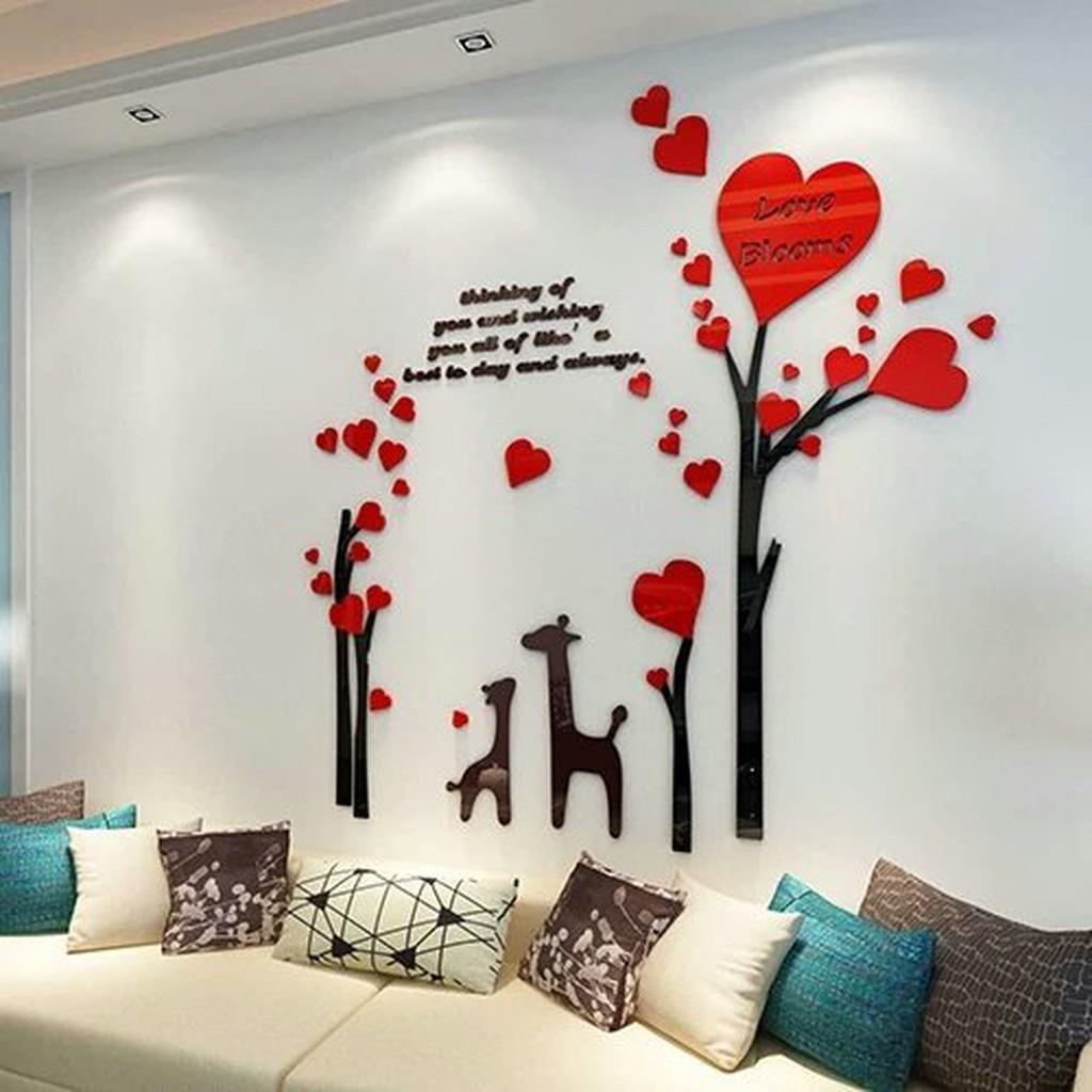 愛心鹿浪漫小樹壓克力3d立體壁貼客廳沙發背景牆壁紙臥室牆裝飾品