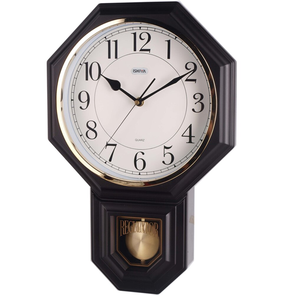 復古典雅八角擺錘掛鐘 免運 台製多色款八角立體雙框漸層面 夜光 時鐘
