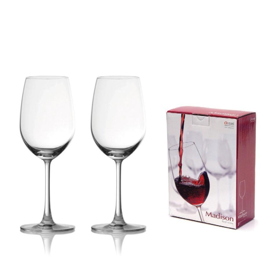 【Ocean】麥德遜紅酒杯425ml(2入禮盒組)《泡泡生活》高腳杯 禮盒 玻璃杯