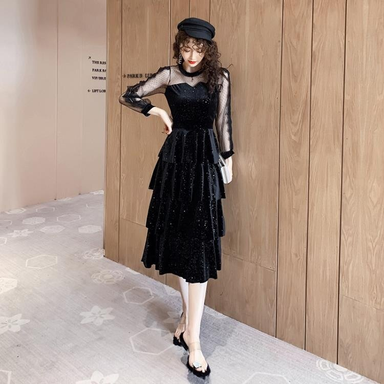 蛋糕裙洋裝 跨境女神范洋裝2020春季新款女裝裙子絲絨拼接亮片中長款蛋糕裙