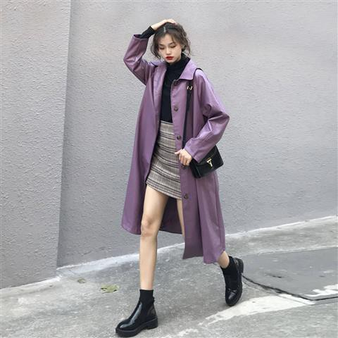 ♥♥紫色皮衣外套女2020春秋韓版小個子中長款機車皮夾克外套