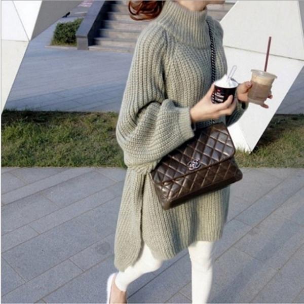 漂亮小媽咪 純色毛衣 【C6442】 寬鬆 純色 鬆高領 套頭 毛衣 針織 長版針織裙 孕婦裝 []