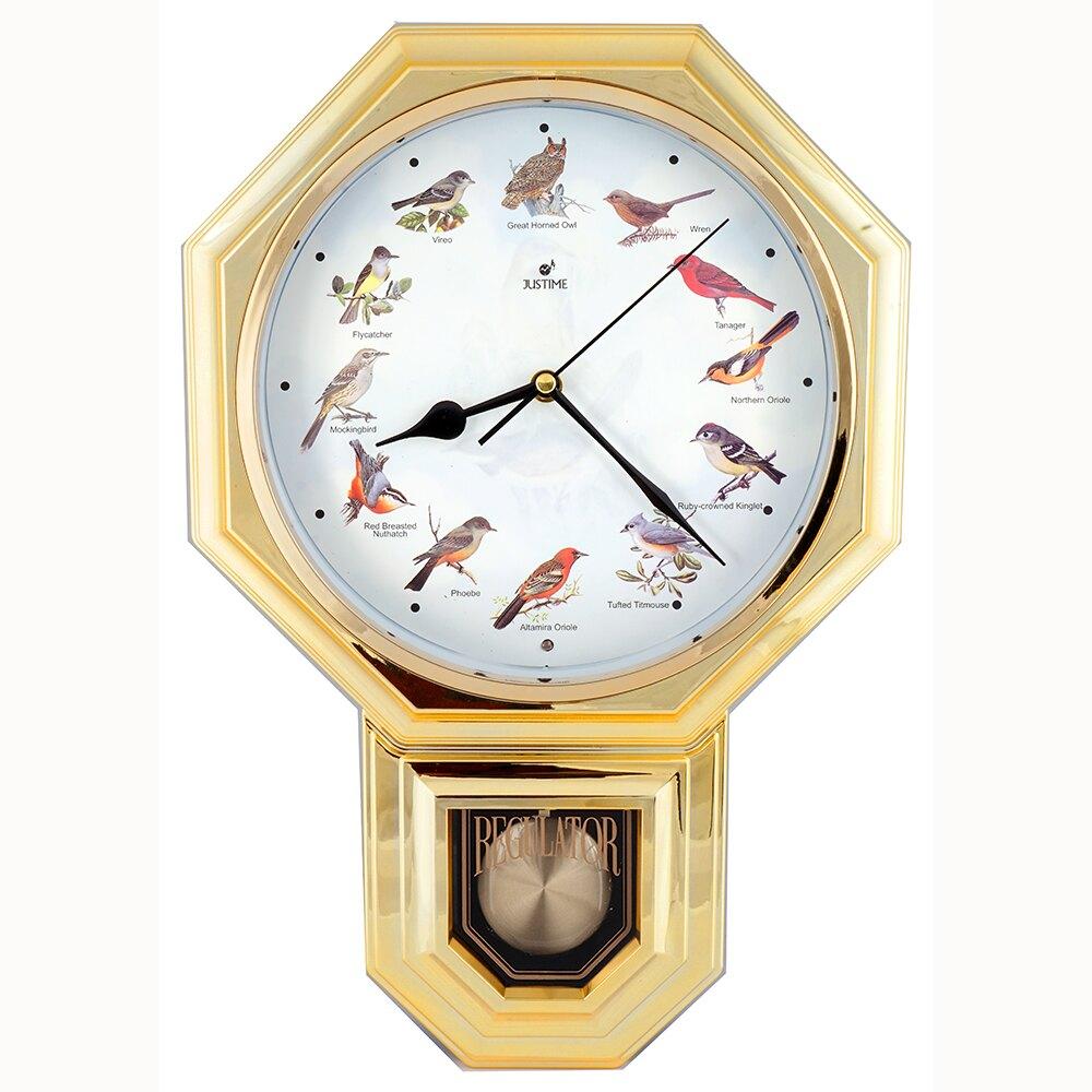 復古典雅八角整點報時擺錘掛鐘 嚴選八角鳥鳴報時擺錘塑膠掛鐘