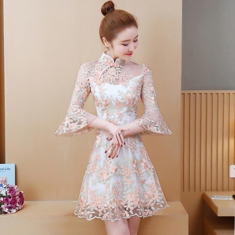 旗袍洋裝 2020新款短款小個子甜美中國風旗袍式連身裙