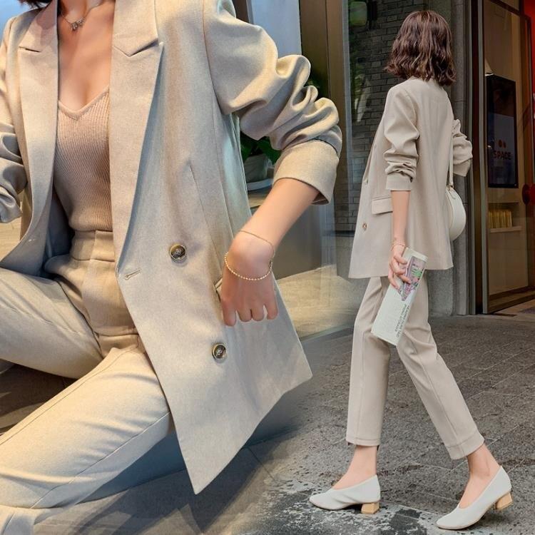 西裝外套 高端職業套裝女秋2020新款洋氣減齡小西裝外套 鬆緊腰褲子兩件套