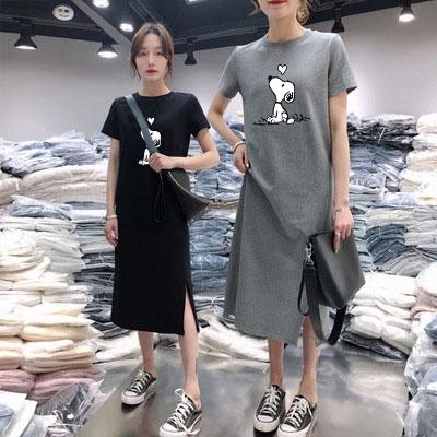 時尚洋裝 洋裝 裙子 連衣裙 顯瘦洋裝 韓版百搭中長款印花連身裙