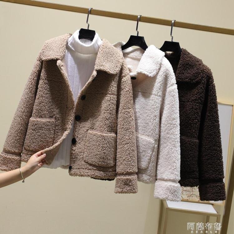 「樂天優選」羊羔毛衛衣 秋冬輕款顆粒羊剪絨加厚女復合皮毛一體羊羔毛短款皮草外套